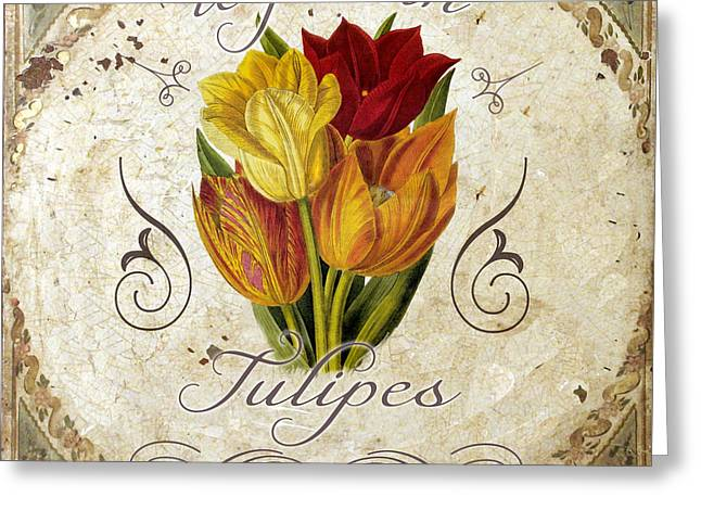 Le Jardin Greeting Cards - Le Jardin Tulipes Greeting Card by Mindy Sommers