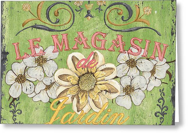 Paris Shops Greeting Cards - Le Magasin de Jardin Greeting Card by Debbie DeWitt