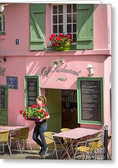 Menu Greeting Cards - Le Maison Rose - Montmartre Greeting Card by Brian Jannsen