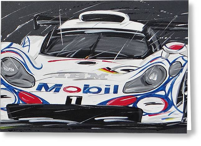 Roberto Greeting Cards - Le Mans Porsche 911 GT 1995 Greeting Card by Roberto Muccilo