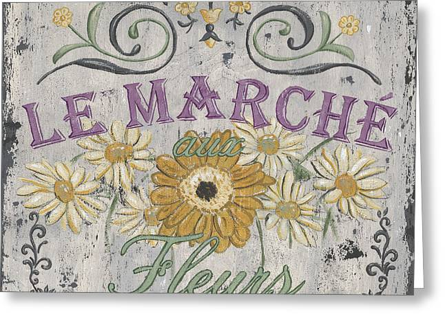 Paris Shops Greeting Cards - Le Marche Aux Fleurs 1 Greeting Card by Debbie DeWitt