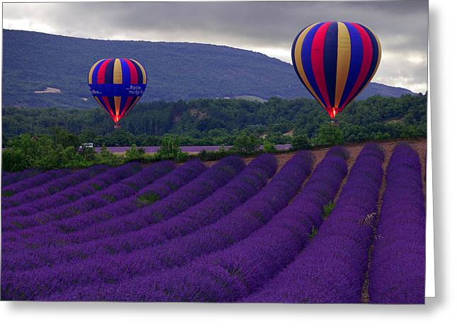 """hot Air Balloons"" Greeting Cards - Le Matin Greeting Card by John Galbo"