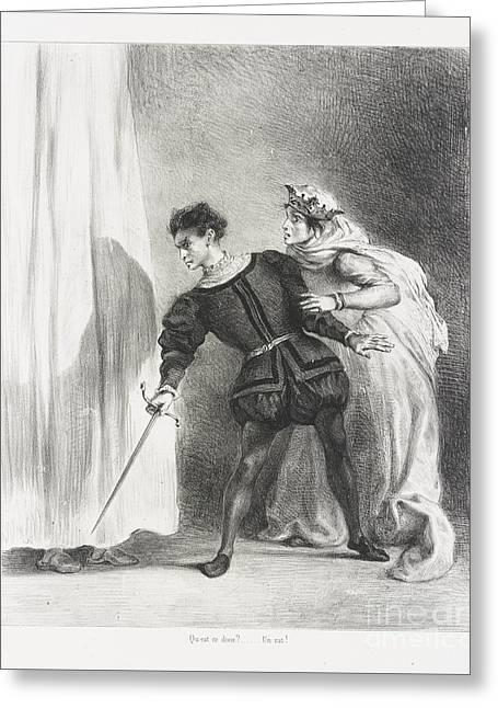Le Meurtre De Polonius Greeting Card by Eugene Delacroix