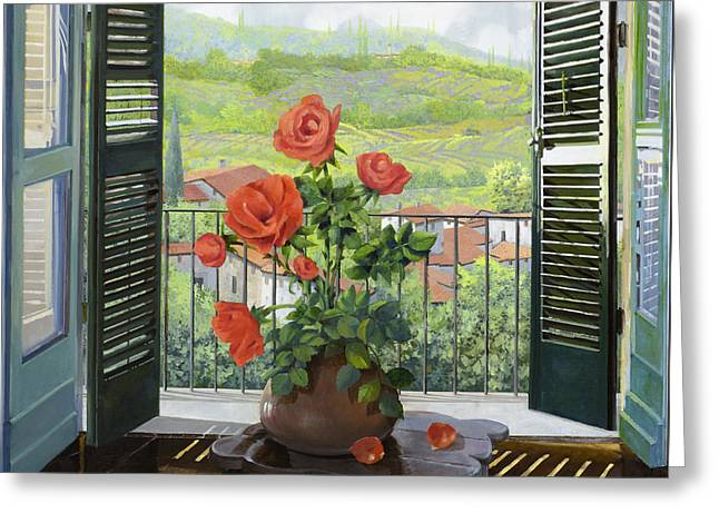 Le Persiane Sulla Valle Greeting Card by Guido Borelli