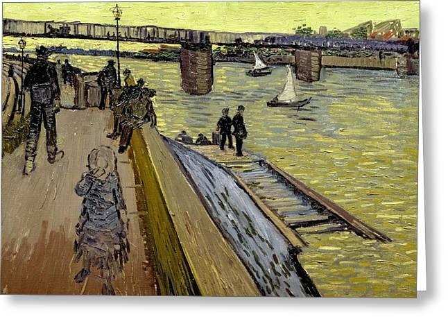 Arles Paintings Greeting Cards - Le Pont de Trinquetaille in Arles Greeting Card by Vincent Van Gogh