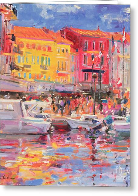 Port Town Greeting Cards - Le Port de St Tropez Greeting Card by Peter Graham