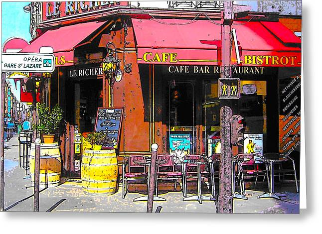 Table Wine Greeting Cards - Le Richer cafe bar in Paris Greeting Card by Jan Matson