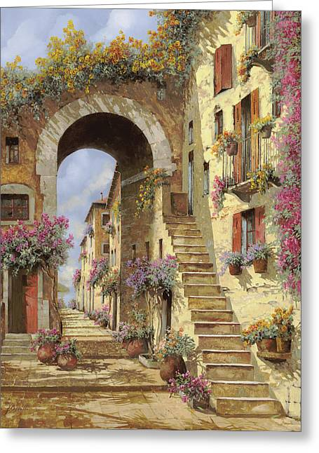 Stairs Paintings Greeting Cards - Le Scale E Un Arco Greeting Card by Guido Borelli