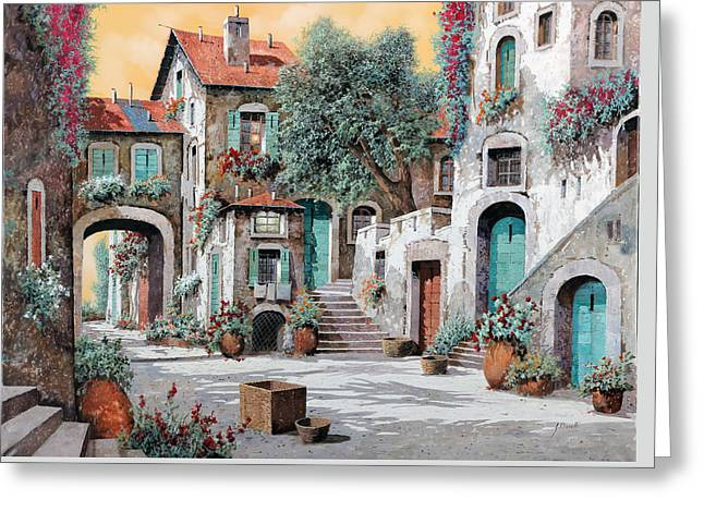Courtyard Greeting Cards - Le Scale Tra Le Case Greeting Card by Guido Borelli