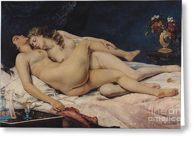 Nude Couple Greeting Cards - Le Sommeil Greeting Card by Gustave Courbet