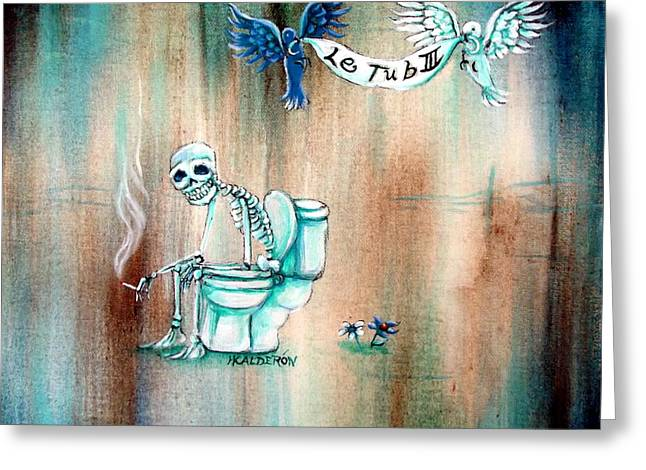Skeleton Greeting Cards - Le Tub III Greeting Card by Heather Calderon