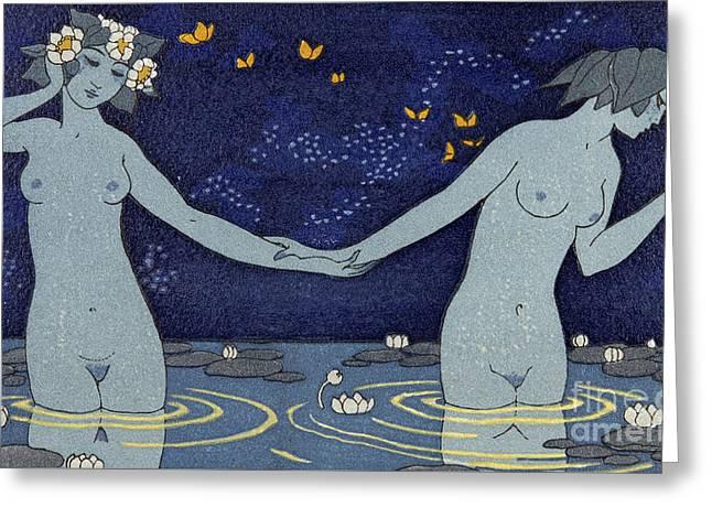 Le Vieillard Et Les Nymphes Greeting Card by Georges Barbier