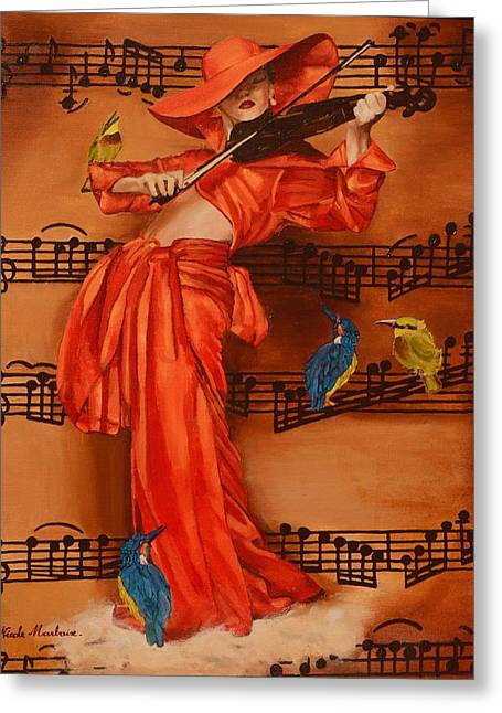 Blue Blouse Greeting Cards - Le Violon Greeting Card by Nicole MARBAISE