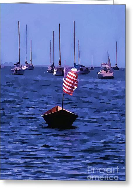 Artistic Landscape Photos Greeting Cards - Leader of the pack- Bristol Rhode Island oil effect Greeting Card by Tom Prendergast
