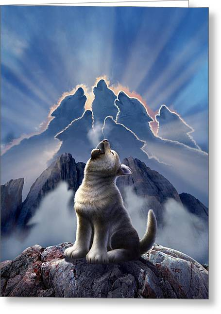 Howling Greeting Cards - Leader of the Pack Greeting Card by Jerry LoFaro