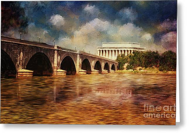 Reflection In Water Digital Greeting Cards - Leading To Lincoln Greeting Card by Lois Bryan