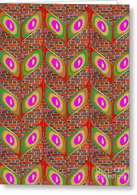 Fineartamerica Greeting Cards - Leaf design pattern on brick wall abstract modern design gallery art NavinJoshi FineArtAmerica Pixel Greeting Card by Navin Joshi