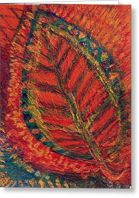 Wow Mixed Media Greeting Cards - Leaf of Fire Greeting Card by Anne-Elizabeth Whiteway