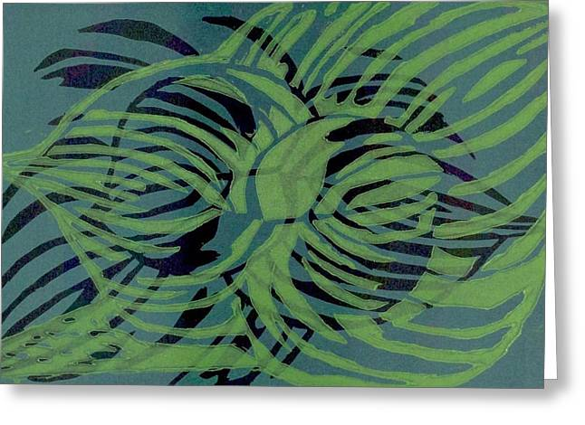 Green Leafs Reliefs Greeting Cards - Leaf Relief Greeting Card by Saundra Jones