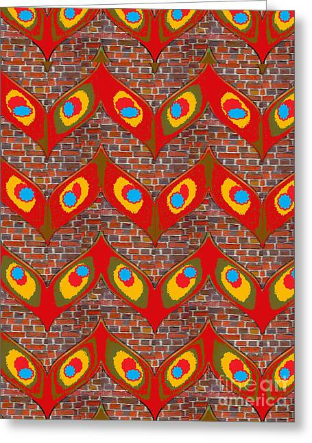 Christmas Greeting Greeting Cards - Leaf,leaves,modern Art,bricks,brick Wall,brickwall,colorful,abstract,design,graphic,pattern,shades,t Greeting Card by Navin Joshi