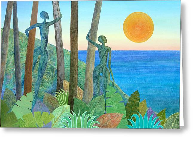 Mysterious Sun Greeting Cards - Leafy Alchemy at Sunset Greeting Card by Jennifer Baird