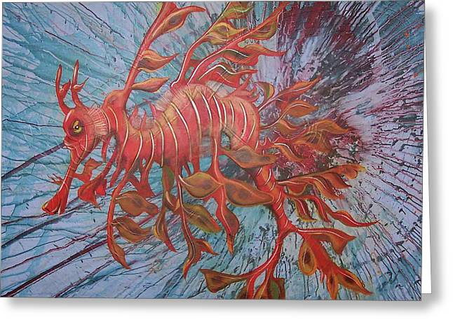 Leafy Sea Dragon Greeting Cards - Leafy Sea Dragon Greeting Card by Lawry Love