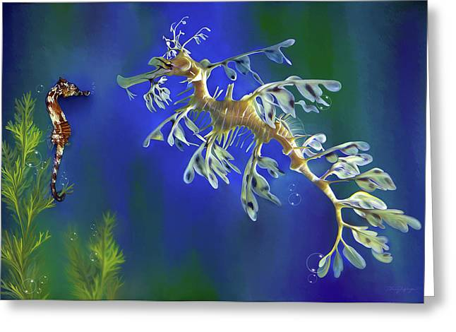 Leafy Sea Dragon Greeting Cards - Leafy Sea Dragon Greeting Card by Thanh Thuy Nguyen