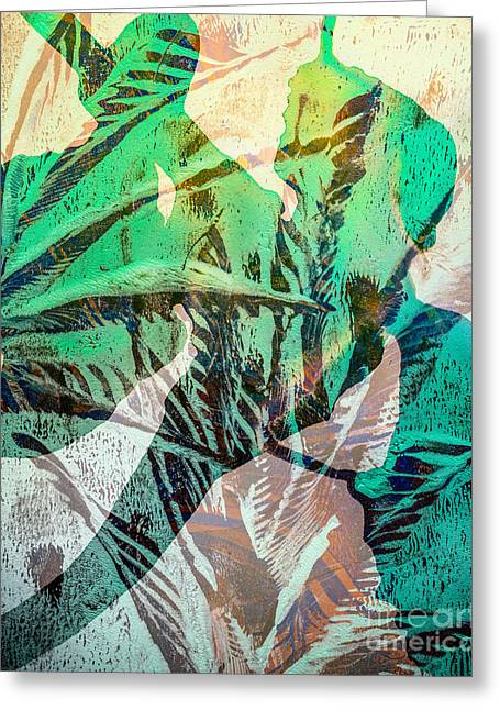 Printmaking Greeting Cards - Leafy Wonder Greeting Card by Laura L Leatherwood