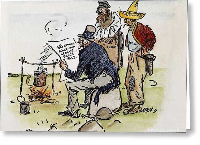 Pulitzer Prize Greeting Cards - League Of Nations Cartoon Greeting Card by Granger