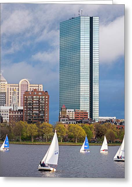 Lean Into It- Sailboats By The Hancock On The Charles River Boston Ma Greeting Card by Toby McGuire