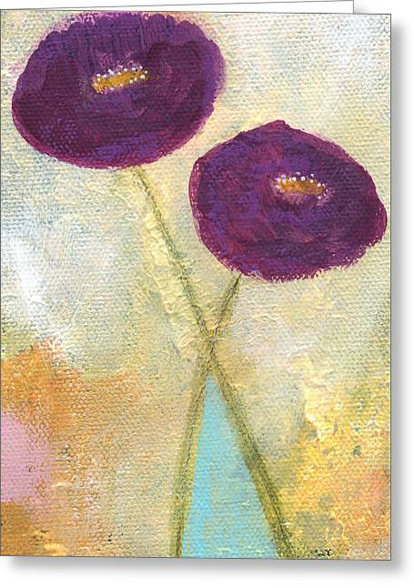 Decor.pink.green Flowers Greeting Cards - Lean On Me- Art by Linda Woods Greeting Card by Linda Woods