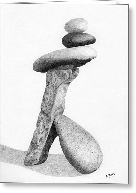 Stack Drawings Greeting Cards - Lean On Me Drawing Greeting Card by Garry McMichael