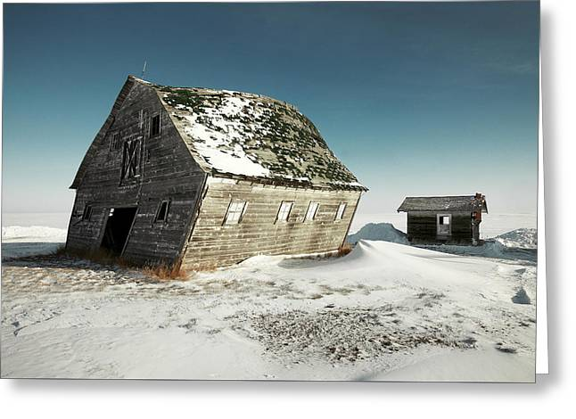 Leaning Barn Greeting Card by Todd Klassy