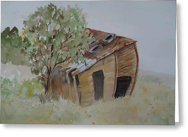 Shed Paintings Greeting Cards - Leaning Esclante Shed Greeting Card by Charme Curtin