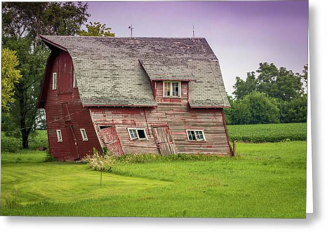 Barn Door Greeting Cards - Leaning Red Barn Greeting Card by Jeffrey Henry