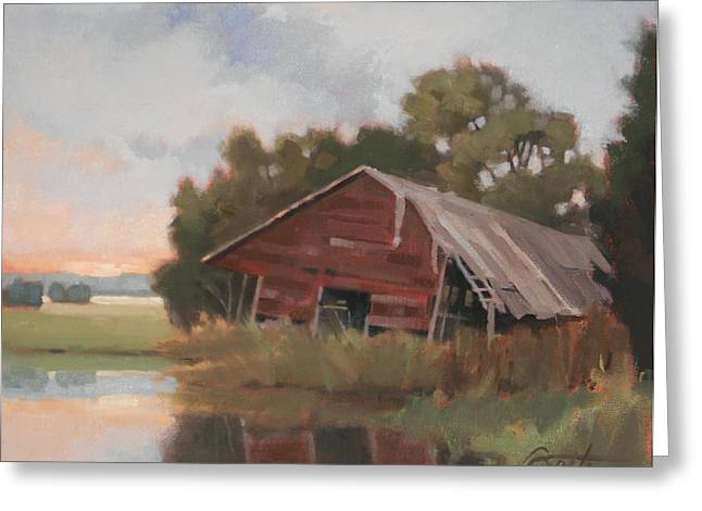 Outbuildings Paintings Greeting Cards - Leaning Greeting Card by Todd Baxter