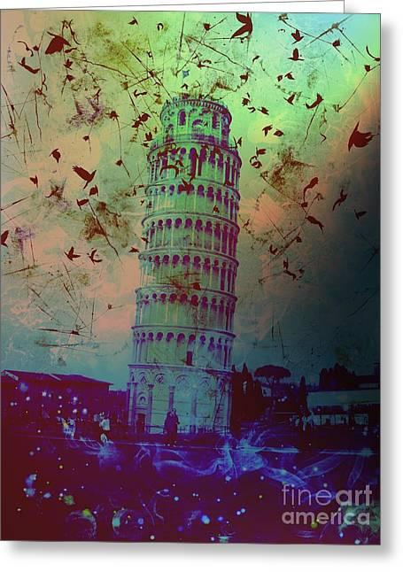 Creepy Digital Art Greeting Cards - Leaning Tower of Pisa 10 Greeting Card by Marina McLain