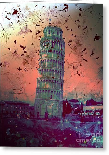 Creepy Digital Art Greeting Cards - Leaning Tower of Pisa 11 Greeting Card by Marina McLain