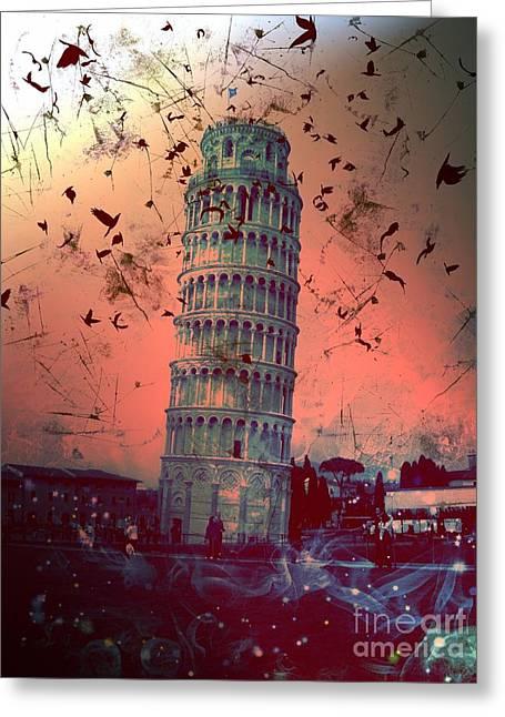 Creepy Digital Art Greeting Cards - Leaning Tower of Pisa 13 Greeting Card by Marina McLain