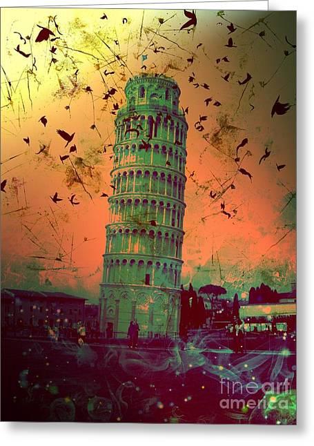 Creepy Digital Art Greeting Cards - Leaning Tower of Pisa 14 Greeting Card by Marina McLain
