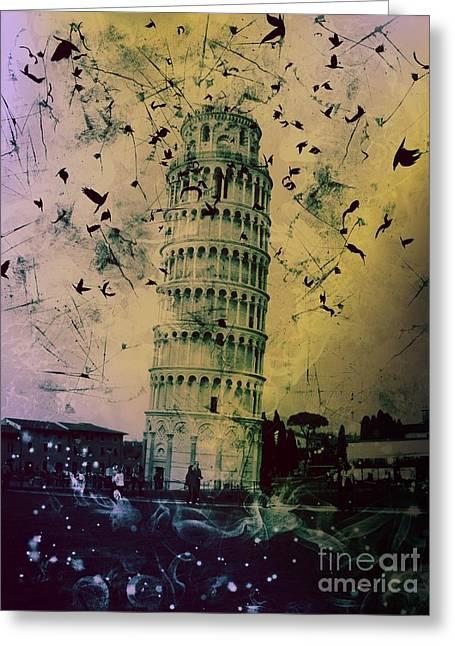 Creepy Digital Art Greeting Cards - Leaning Tower of Pisa 15 Greeting Card by Marina McLain