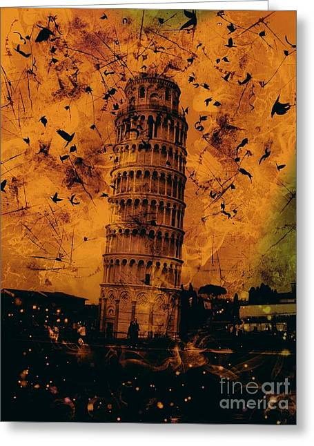 Creepy Digital Art Greeting Cards - Leaning Tower of Pisa 17 Greeting Card by Marina McLain