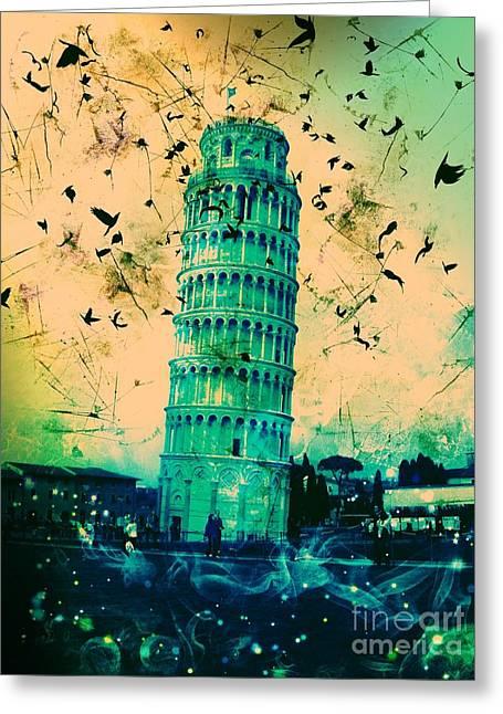 Creepy Digital Art Greeting Cards - Leaning Tower of Pisa 19 Greeting Card by Marina McLain