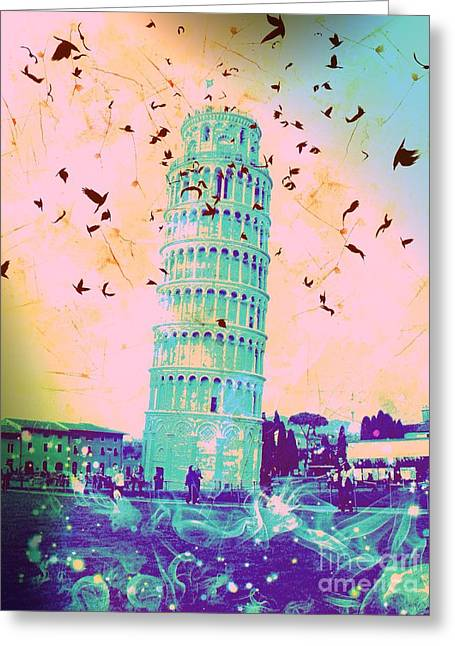 Creepy Digital Art Greeting Cards - Leaning Tower of Pisa 21 Greeting Card by Marina McLain