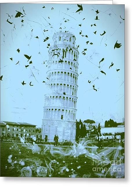 Creepy Digital Art Greeting Cards - Leaning Tower of Pisa 23 Greeting Card by Marina McLain