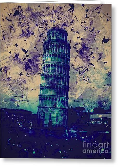 Creepy Digital Art Greeting Cards - Leaning Tower of Pisa 24 Greeting Card by Marina McLain