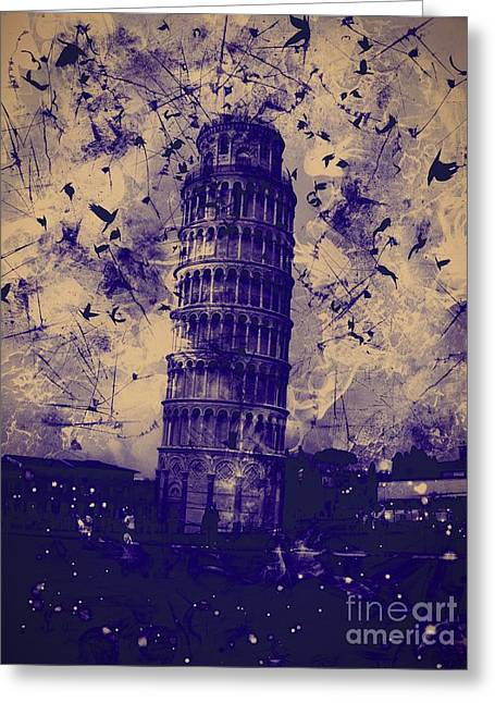 Creepy Digital Art Greeting Cards - Leaning Tower of Pisa 25 Greeting Card by Marina McLain