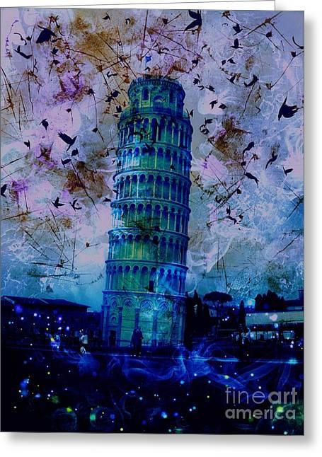 Creepy Digital Art Greeting Cards - Leaning Tower of Pisa 26 Greeting Card by Marina McLain