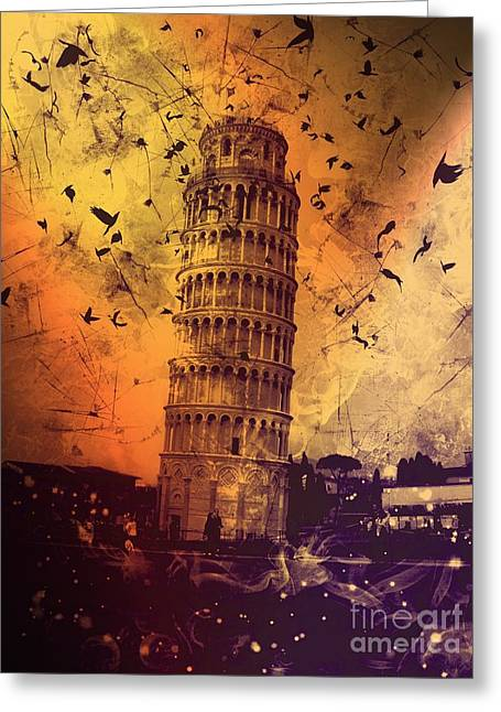 Layers Greeting Cards - Leaning Tower of Pisa 28 Greeting Card by Marina McLain