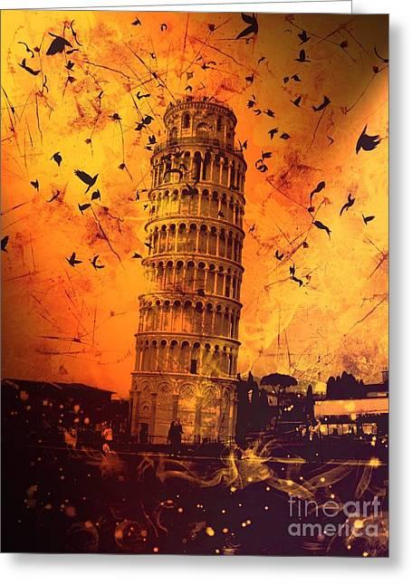 Creepy Digital Art Greeting Cards - Leaning Tower of Pisa 29 Greeting Card by Marina McLain